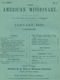cover for book The American Missionary — Volume 35, No. 1, January, 1881