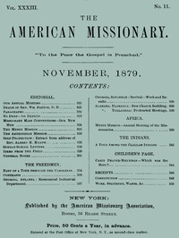 cover for book The American Missionary — Volume 33, No. 11, November, 1879