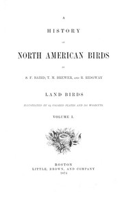 cover for book A History of North American Birds, Land Birds - Volume 1
