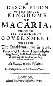 cover for book A Description of the Famous Kingdome of Macaria