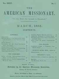 cover for book The American Missionary — Volume 35, No. 3, March 1881
