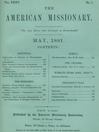 cover for book The American Missionary — Volume 35, No. 5, May, 1881