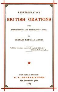 cover for book Representative British Orations with Introductions and Explanatory Notes, Volume I (of 4)