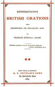 cover for book Representative British Orations with Introductions and Explanatory Notes, Volume II (of 4)