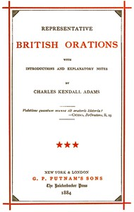 cover for book Representative British Orations with Introductions and Explanatory Notes, Volume III (of 4)