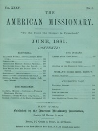 cover for book The American Missionary — Volume 35, No. 6, June, 1881