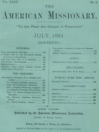 cover for book The American Missionary — Volume 35, No. 7, July, 1881