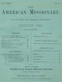 cover for book The American Missionary — Volume 35, No. 8, August, 1881