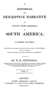 cover for book Historical and Descriptive Narrative of Twenty Years' Residence in South America (Vol 1 of 3)