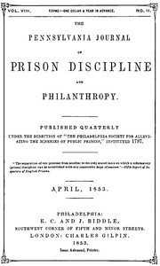 cover for book The Pennsylvania Journal of Prison Discipline and Philanthropy, April 1853