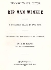 cover for book Pennsylvania Dutch Rip Van Winkle