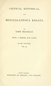 cover for book Critical, Historical, and Miscellaneous Essays; Vol. 2