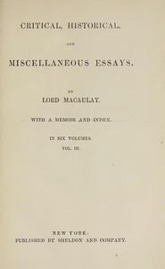 cover for book Critical, Historical, and Miscellaneous Essays; Vol. 3