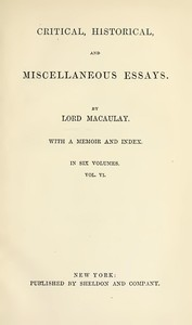 cover for book Critical, Historical, and Miscellaneous Essays; Vol. 6