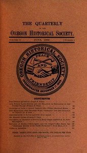 cover for book The Quarterly of the Oregon Historical Society (Vol. I, No. 2)