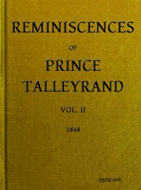 cover for book Reminiscences of Prince Talleyrand, Volume II (of 2)