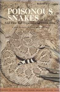 cover for book Poisonous Snakes of Texas and First Aid Treatment of Their Bites