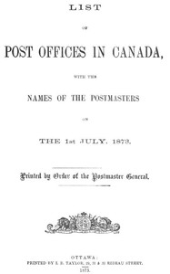 cover for book List of Post Offices in Canada 1873