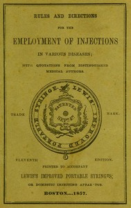 cover for book Rules and Directions for the Employment of Injections in Various Diseases