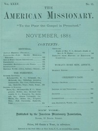 cover for book The American Missionary — Volume 35, No. 11, November, 1881