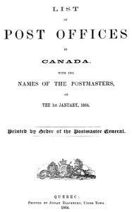 cover for book List of Post Offices in Canada 1864