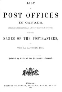 cover for book List of Post Offices in Canada 1866