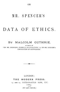 cover for book On Mr. Spencer's Data of Ethics