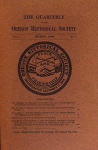cover for book The Quarterly of the Oregon Historical Society (Vol. 1, No. 1)
