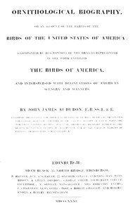 cover for book Ornithological Biography, Volume 1 (of 5)