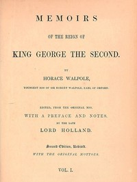 cover for book Memoirs of the Reign of King George the Second, Volume 1 (of 3)