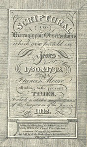 cover for book Scriptural and Hieroglyphic Observations which were foretold in the years of 1750 & 1792