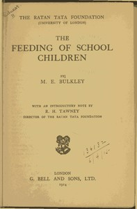 cover for book The Feeding of School Children