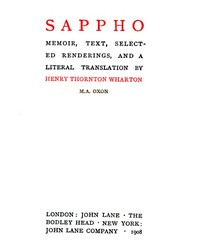 cover for book Sappho