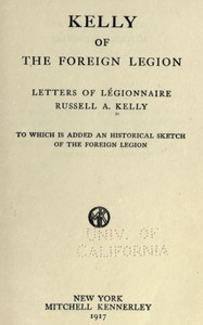 Cover of the book Kelly of the Foreign Legion by Russell A. Kelly