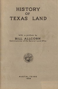 Cover of the book History of Texas Land by Bill Allcorn