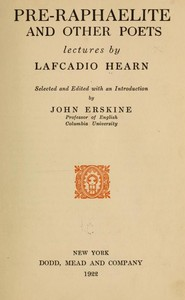Cover of the book Pre-Raphaelite and other poets; by Lafcadio Hearn