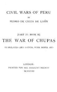 Cover of the book The war of Chupas by Pedro de Cieza de León