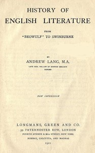 Cover of the book History of English literature : from Beowulf to Swinburne by Andrew Lang